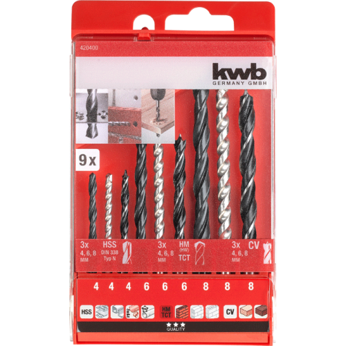 KWB set HSS/HM/CV borera - svrdla za drvo/metal/beton 4-8 mm 9/1 (420400)