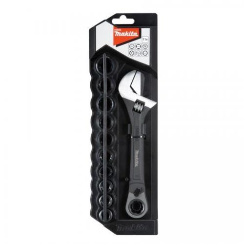 Makita podesivi ključ sa račnom i 10 nasadnih gedora (B-65458)