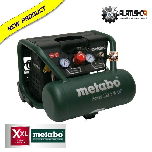 Metabo 180-5 W OF kompresor klipni bezuljni 5 L (601531000)