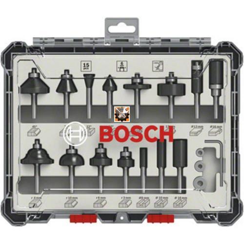 Bosch glodala frezer kroner za drvo prihvat 6 mm set 15/1 (2 607 017 471)