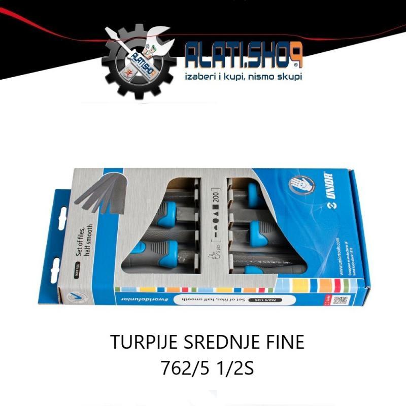 Unior turpija rašpa srednje fine 762/5 1/2S set 5/1 (612931)